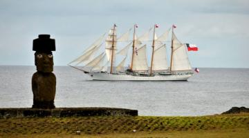 Esmeralda - Easter Island - This is the Chilean tall ship Esmeralda in Easter Island. This beautiful South American tall ship is