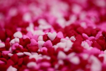 Close up shot of tiny heart - Pink, white, and red heart decor. New Hampshire, USA