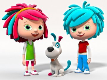 for playing - there are two brothers called yo yo with a little dog