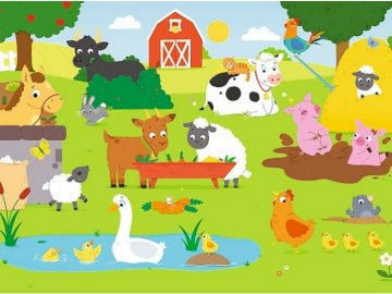 Animals in the countryside - Arrange the puzzles and name the animals in the picture.