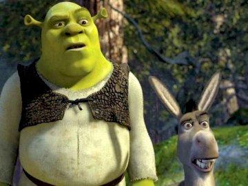 Fairytale Shrek - Puzzle with the well-known and liked Shrek and donkey