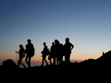 Wonderful Trek - Silhouette on people standing on mountain during blue hour. Delhi, India