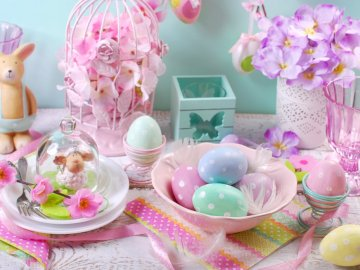 Easter, decorations, Easter eggs - Decorated table for Easter