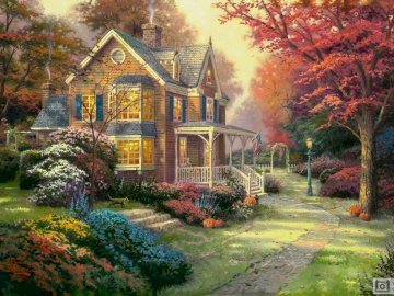 house in a beautiful garden - painting showing a house in a beautiful, flowering garden