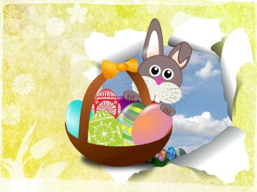 Hare, basket, Easter eggs - Easter hare with Easter eggs