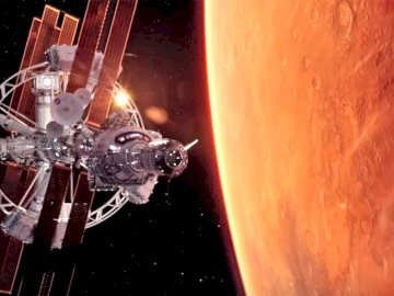 Mission To Mars - Space view of a mission to mars