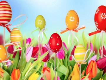 Colorful Easter eggs, Tulips - Colorful Easter eggs, Tulips