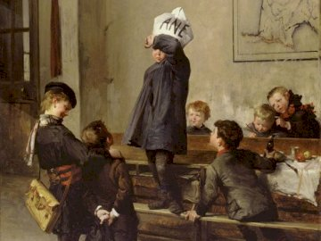 The future scientist - Painting of a student wearing a donkey cap