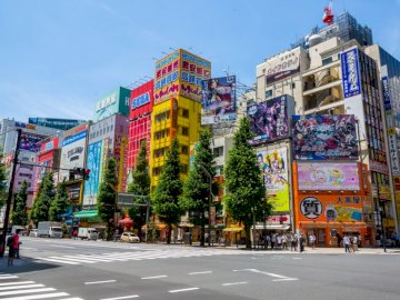 Akihabara - Empty cross road near assorted color buildings during daytime.
